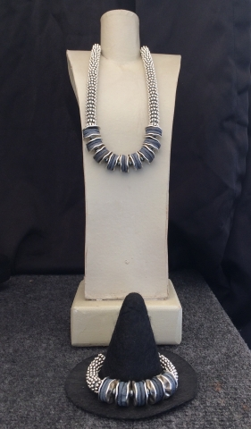 "A. Lapis Disc Necklace, 15"" to 22"" $95 B. Lapis Disc Bracelet $59"