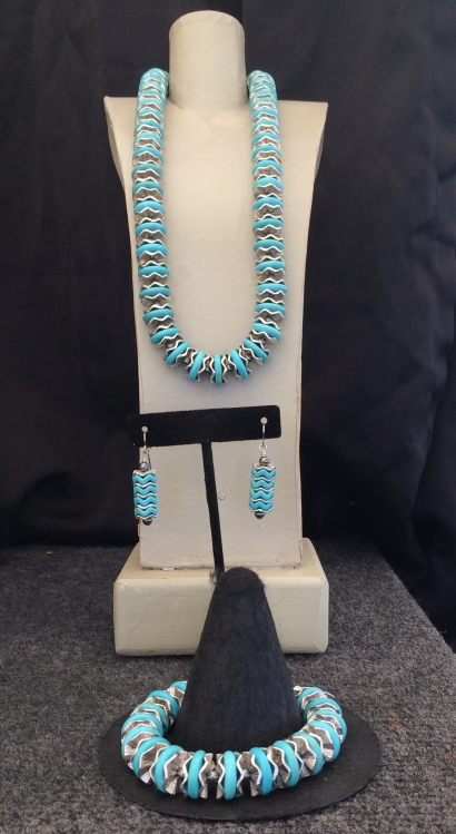 "A. Turquoise Necklace, 18"" $95 B. Earrings $28 C. Turquoise Bracelet $59"